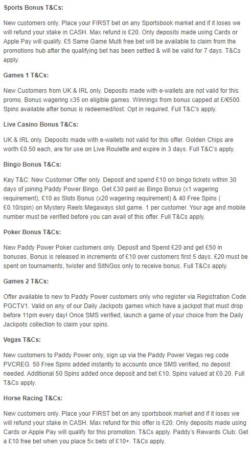 Paddy Power bonuses - terms & conditions